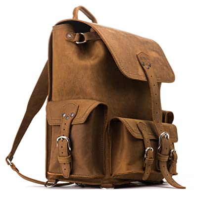 Saddleback Leather Co. Full Grain Leather Front Pocket Backpack Book Bag School Business Travel Includes 100 Year Warranty: Clothing
