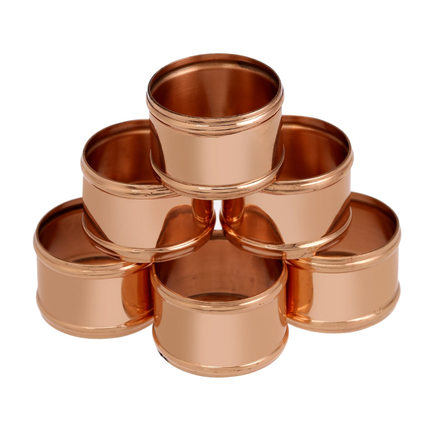 ShalinIndia Copper Napkin Ring Holder for Weddings,Dinners, Parties or Everyday Use, Set of 6,Light Weight 35 Grams,Diameter-1.75 Inch