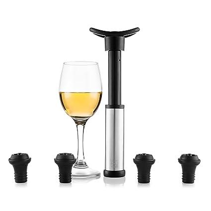 Blumtal Bomba De Vacío Para Vino - Accesorios Vino Incluye 4 Tapones. Apto Lavavajillas Y
