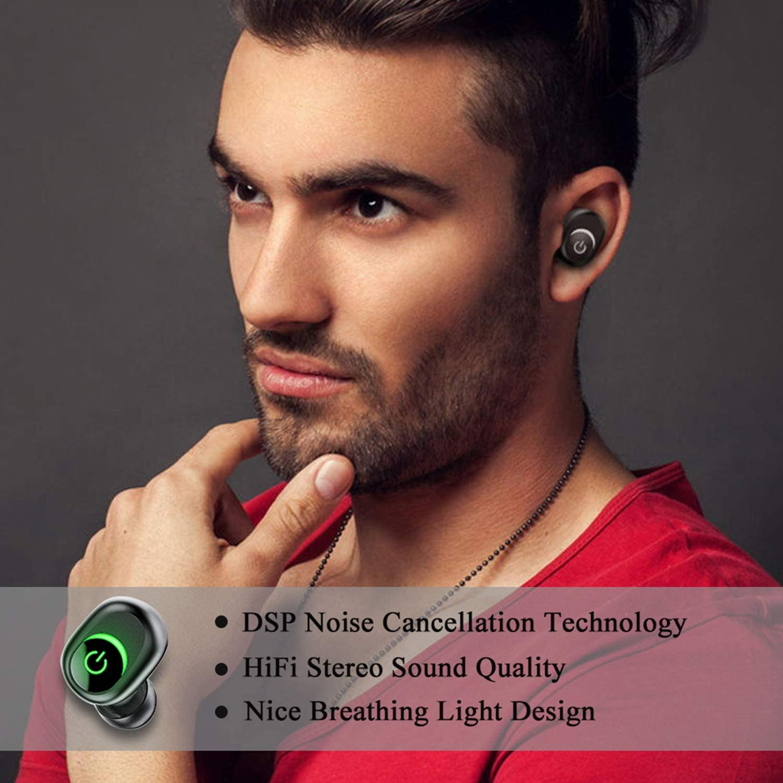 Bluetooth Kopfh/örer In Ear Kabellos Ohrh/örer 100H Stunden Spielzeit Premium Sound Bass  Stereo Noise Canceling Touch control IPX7 Wasserdicht Sport Headset mit 1800Mah   Ladek/ästchen Mikrofon