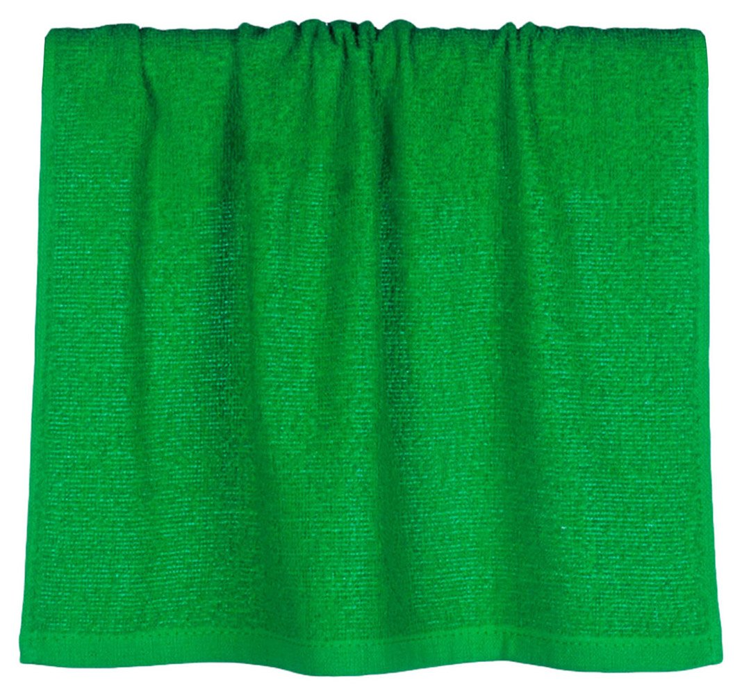 UltraClub Popular Rally Shaved Terry Hem Cotton Hand Towel, Kelly, One Size