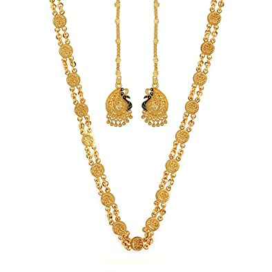 d462d256b Gold Nera Temple Real Gold Look Laxmi Ginni Religious Chain Necklace Design  with Peacock Kaan-