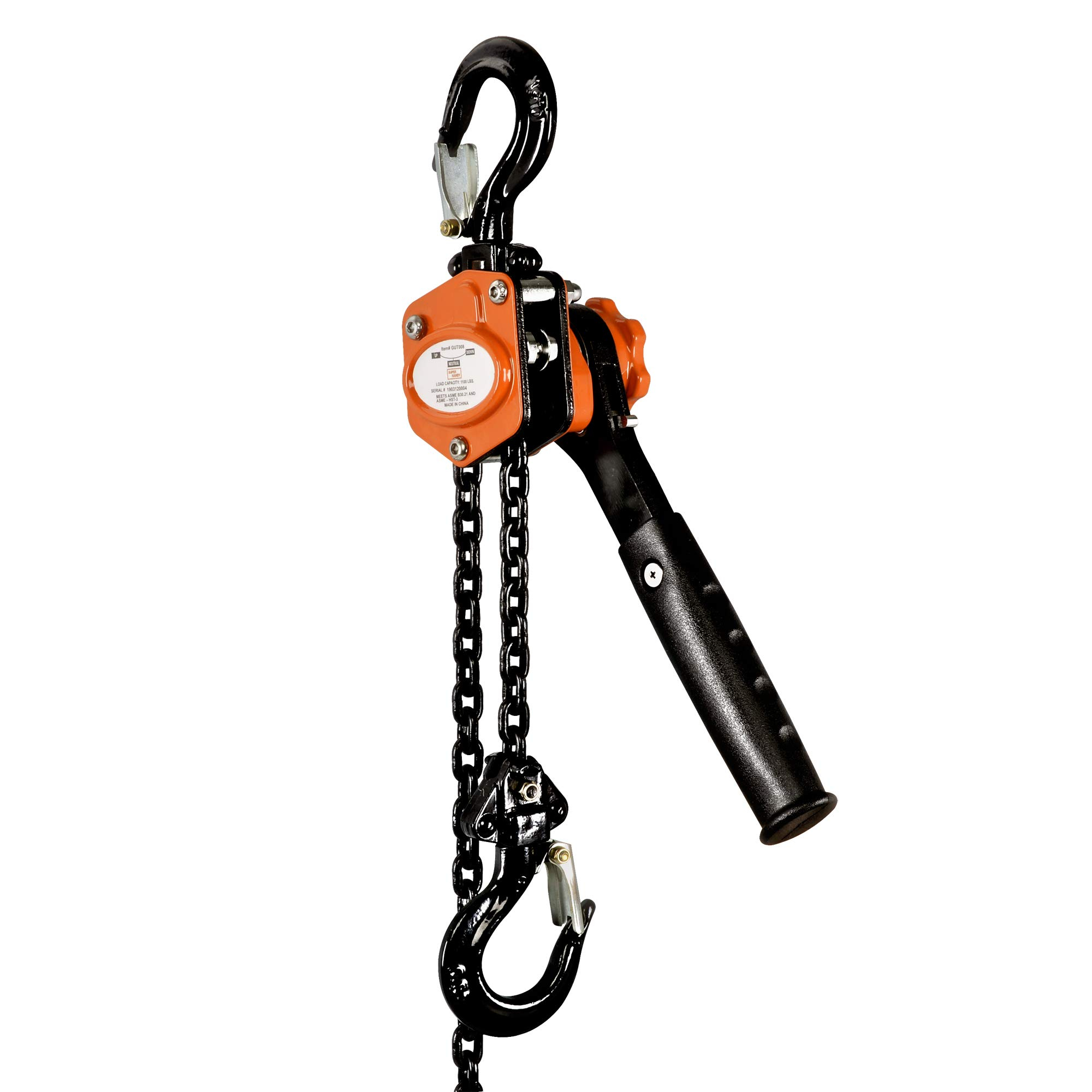 SuperHandy Mini Lever Hoist Come Along 1/2 TON 1100 LBS Capacity 5FT Lift 2 Heavy Duty Hooks Commercial Grade Steel for Lifting Pulling Construction Building Garages Warehouse Automotive Machinery