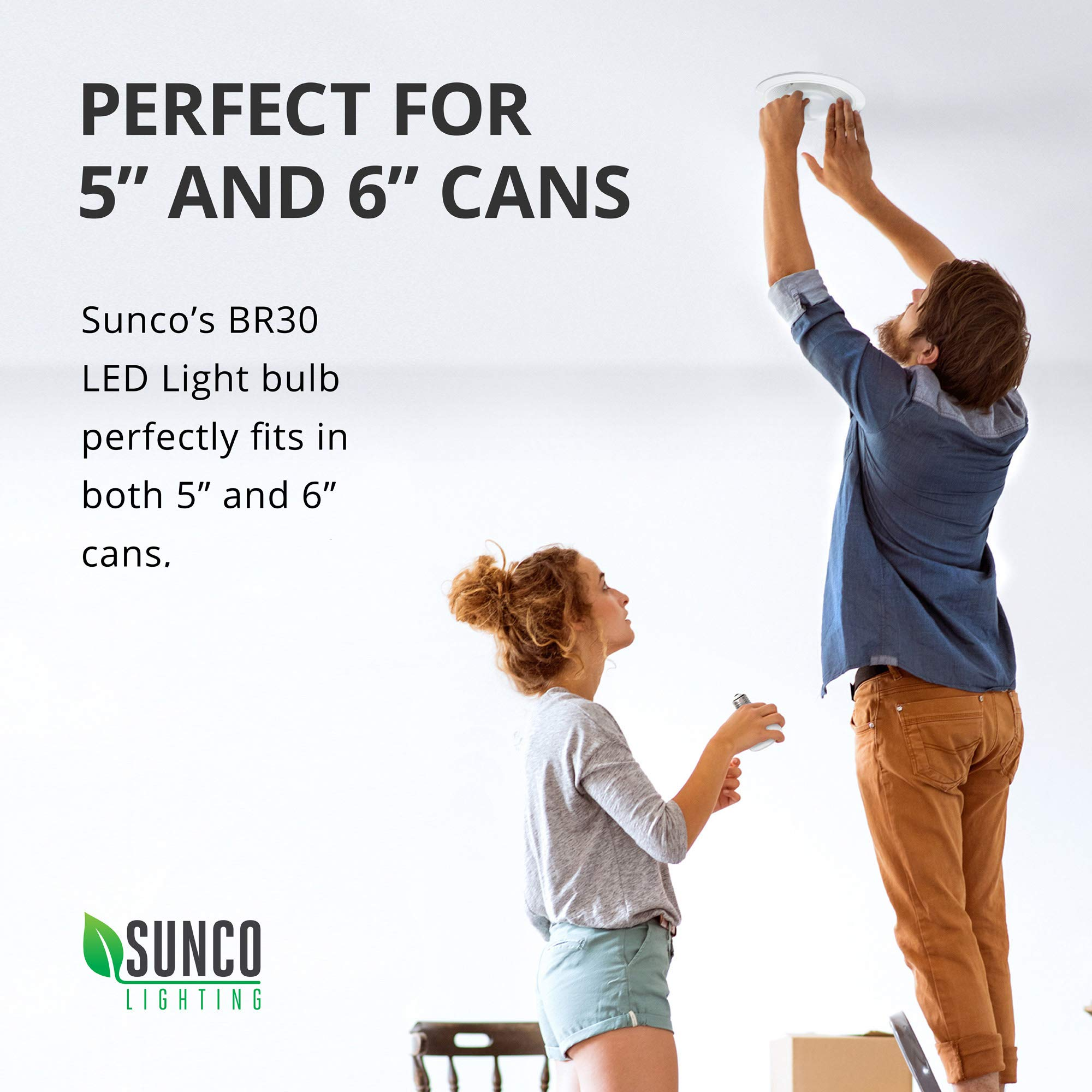 Sunco Lighting 48 Pack BR30 LED Bulb 11W=65W, 2700K Soft White, 850 LM, E26 Base, Dimmable, Indoor Flood Light for Cans - UL & Energy Star by Sunco Lighting (Image #8)