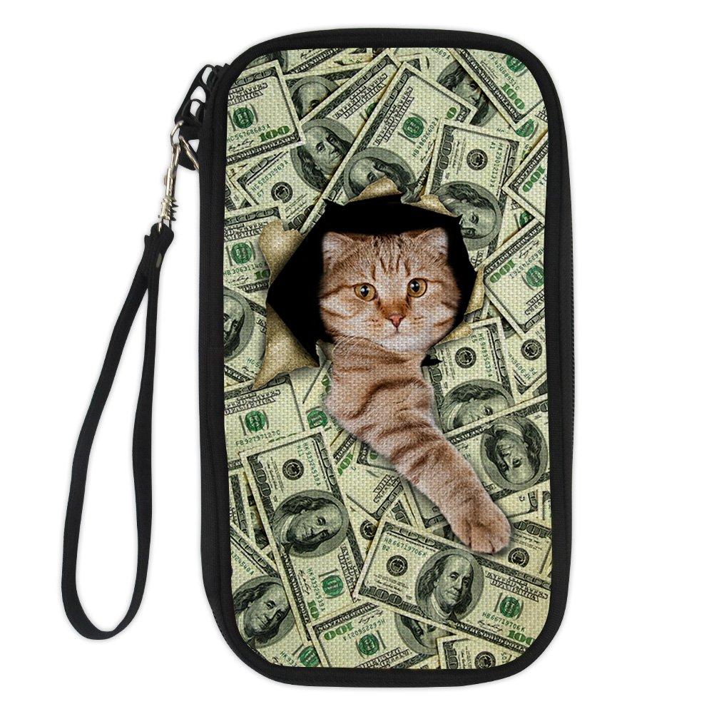 ArtistMixWay Dollar Cat Print RFID Blocking Passport Holder Cover Case Travel Wallet