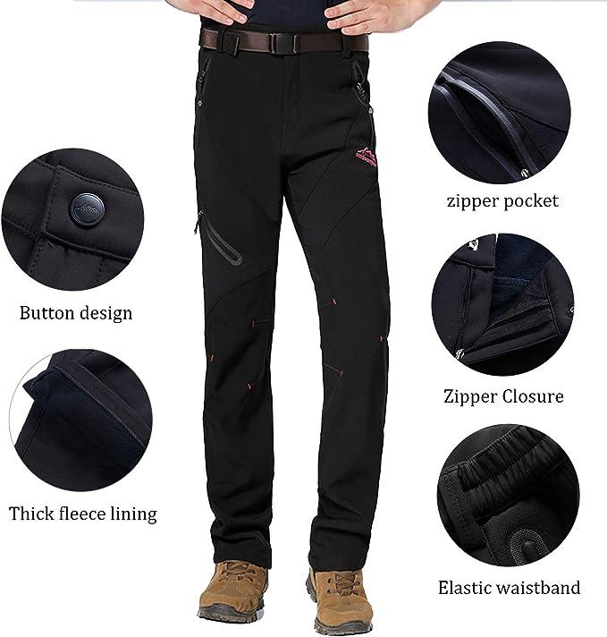 BWBIKE Mens Outdoor Windproof Trousers Fleece Warm Hiking Skiing Pants Softshell Trousers
