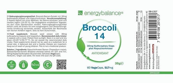 EnergyBalance Broccoli Extract 60 cápsulas de 515mg cada una con 30mg de Sulforaphan | Con Nasturtium | Dosis alta y vegana | Calidad de marca desde ...