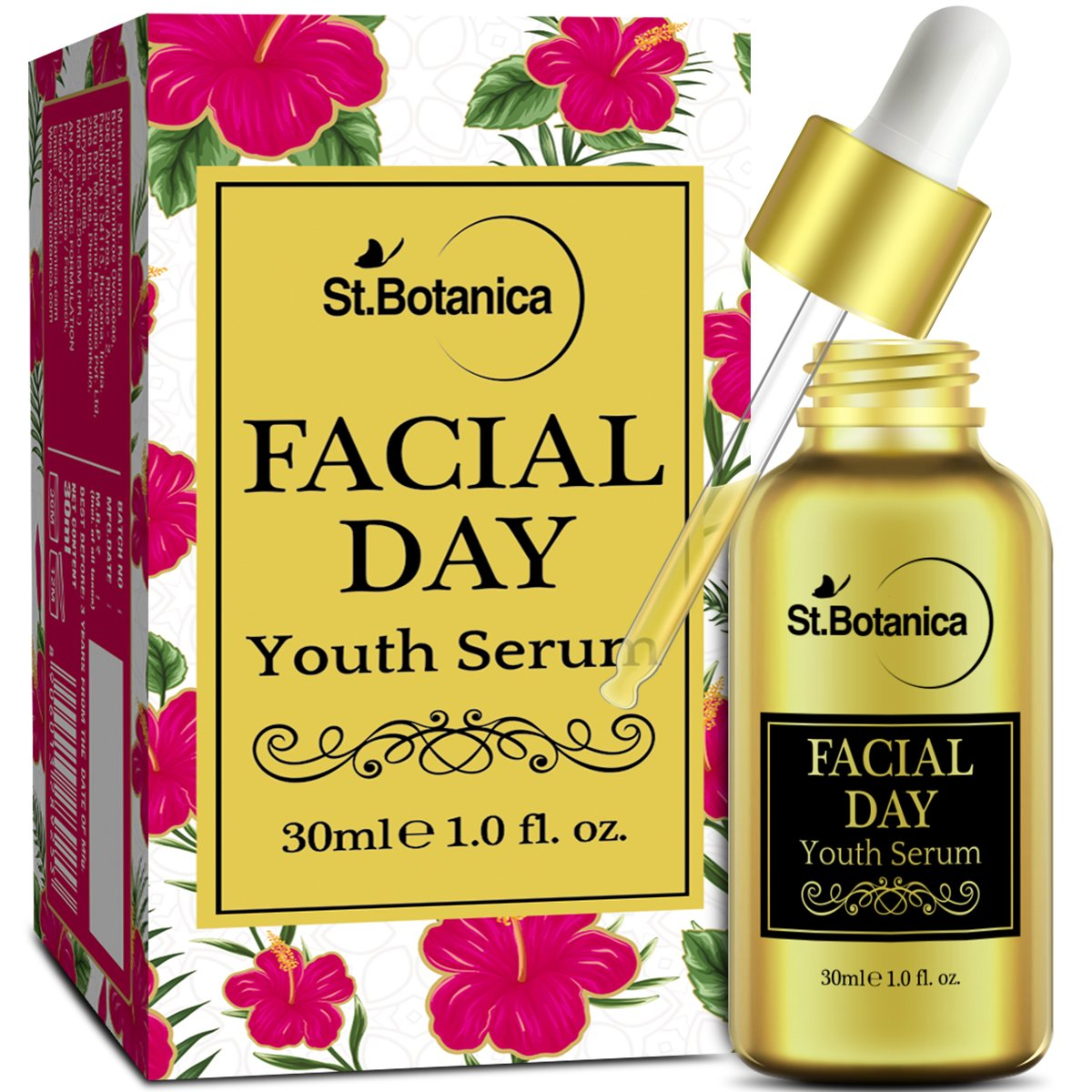 StBotanica Facial Day Youth Serum - 30ml - with Natural SPF & Vitamin C for Skin Brightening, Fairness product image