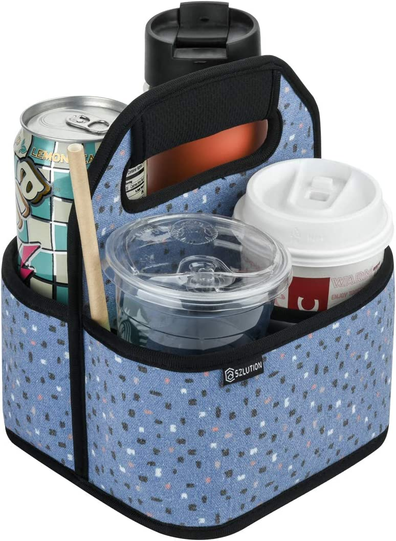 Case Star Drink Carrier Reusable Insulated Coffee Cup Carrier Water Bottle Holder in Car Lightweight Padded Beverage Holder with Adjustable dividers Fits 16-24OZ Coffee Cups (Colorful dots)