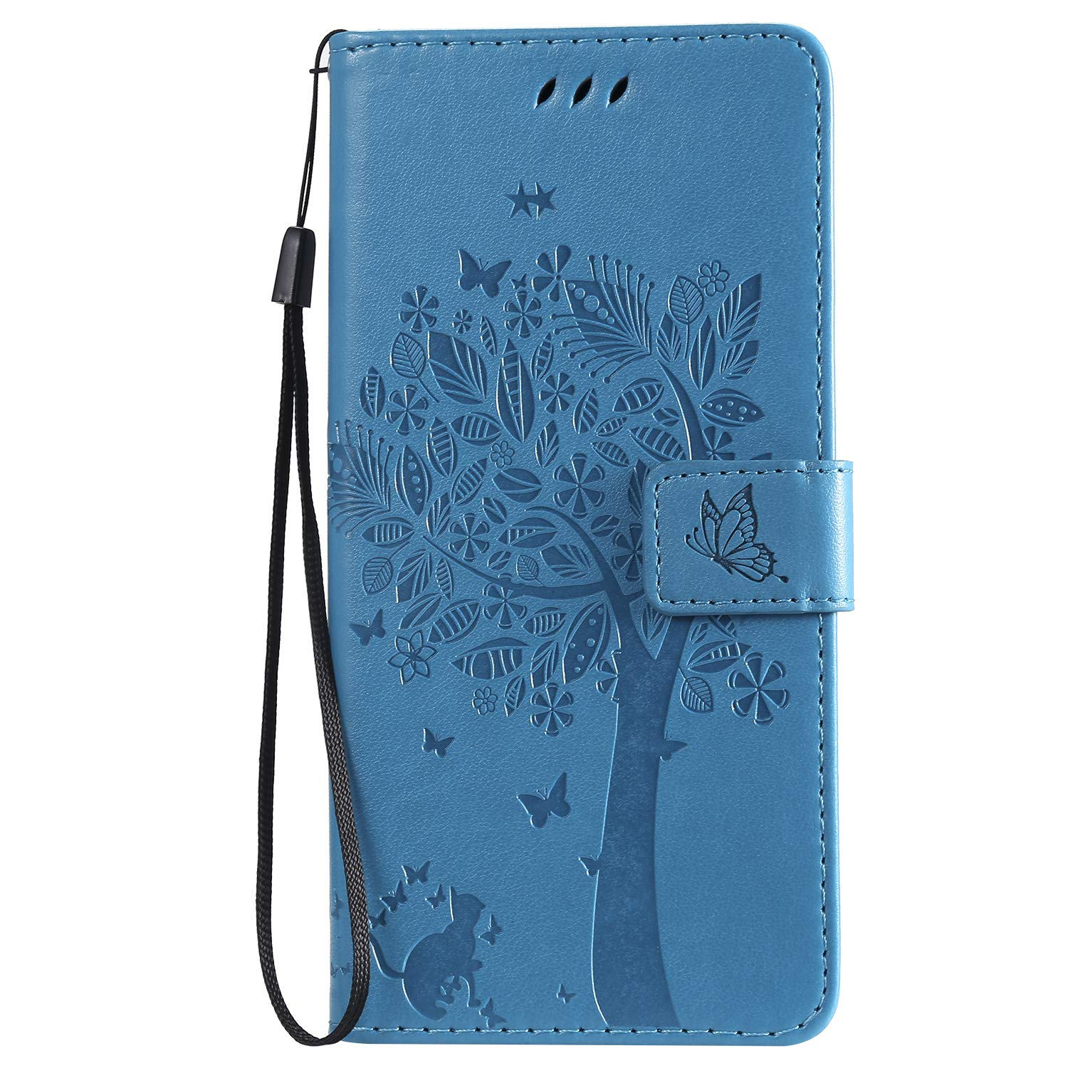Lomogo Samsung Galaxy A20 A30 Case A30 LOKTU080021 Blue Leather Wallet Case with Kickstand Card Holder Shockproof Flip Case Cover for Samsung Galaxy A20