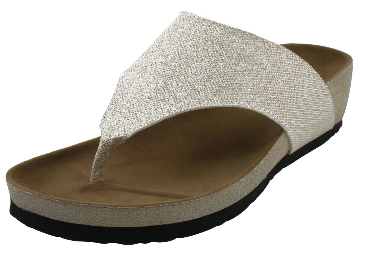Cambridge Select Women's Flip-Flop Slip-On Thong Mid Wedge Heel Sandal B078SJ57KR 8 B(M) US|Champagne