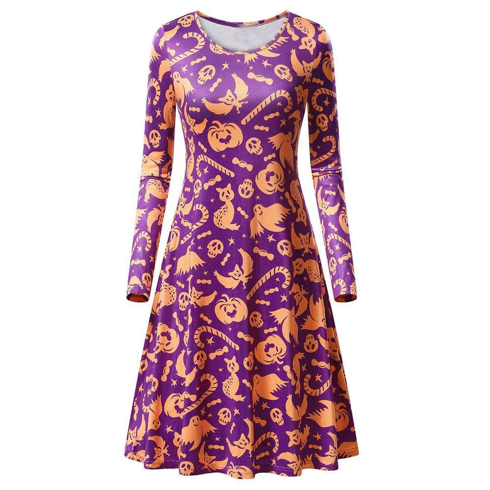 Pervobs Women Halloween Long Sleeve Pumpkins Print Evening Prom Swing Dress Tops