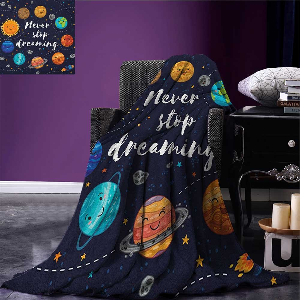 Quote cool blanket Outer Space Planets and Star Cluster Solar System Moon and Comets Sun Cosmos Illustration Pattern Multi size:51''x31.5''