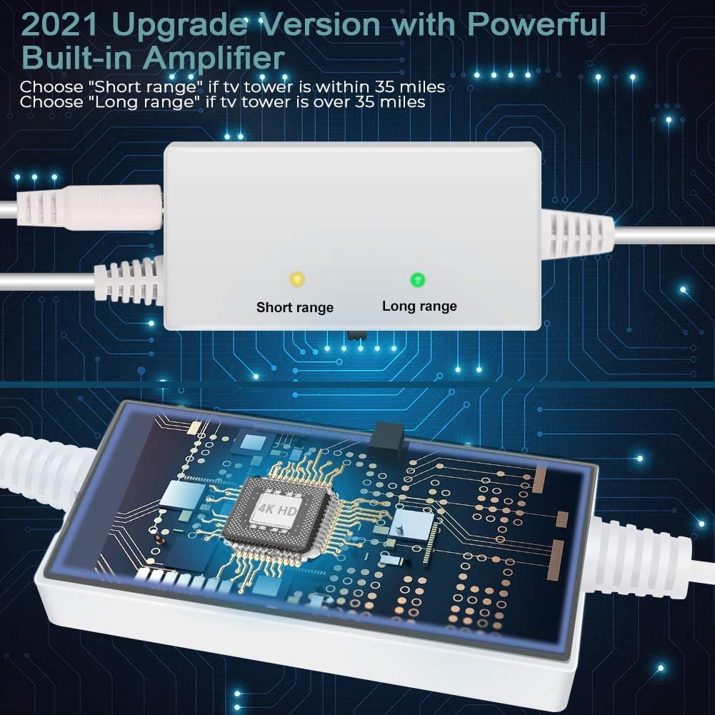 Versión 2021 Ultra Plana Antena TV TDT Interior DVB-T DVB-T2, Mayor Rango de recepción de 200KM, 10 Metros de Cables de Alto Rendimiento, duraderos y ...