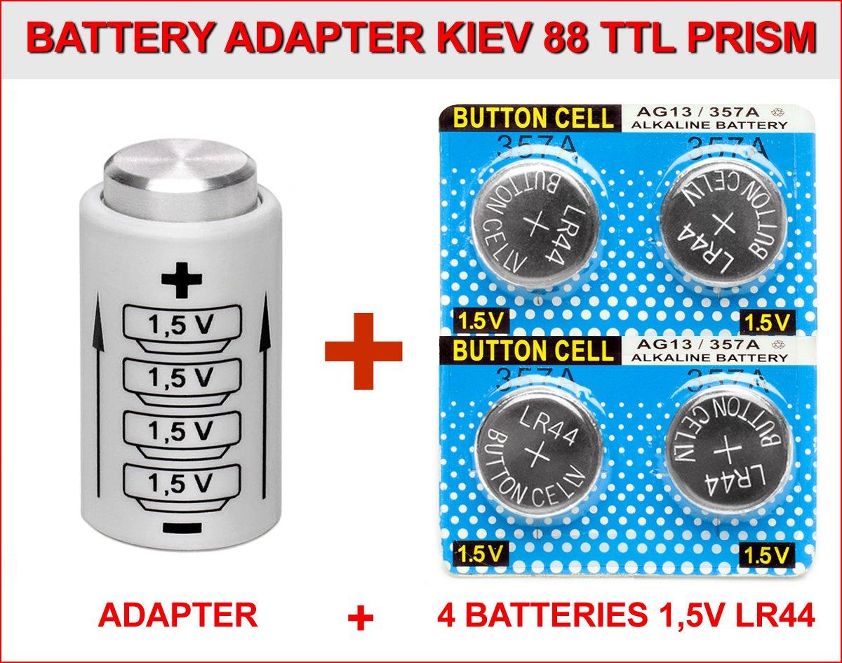 Adaptador DE BATERIA para KIEV 88 TTL Prisma + 4 Pilas BOTÓ N 1, 5V LR44 ADAPTADOR YASHICA ELECTRO ADAPTER KIEV 88 + 4 BATTERIES