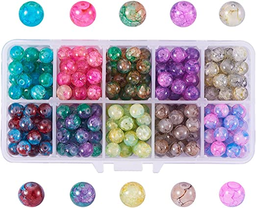 25 x NEW Matte Effect Textured Glass Pearls Various Colours Available 10mm