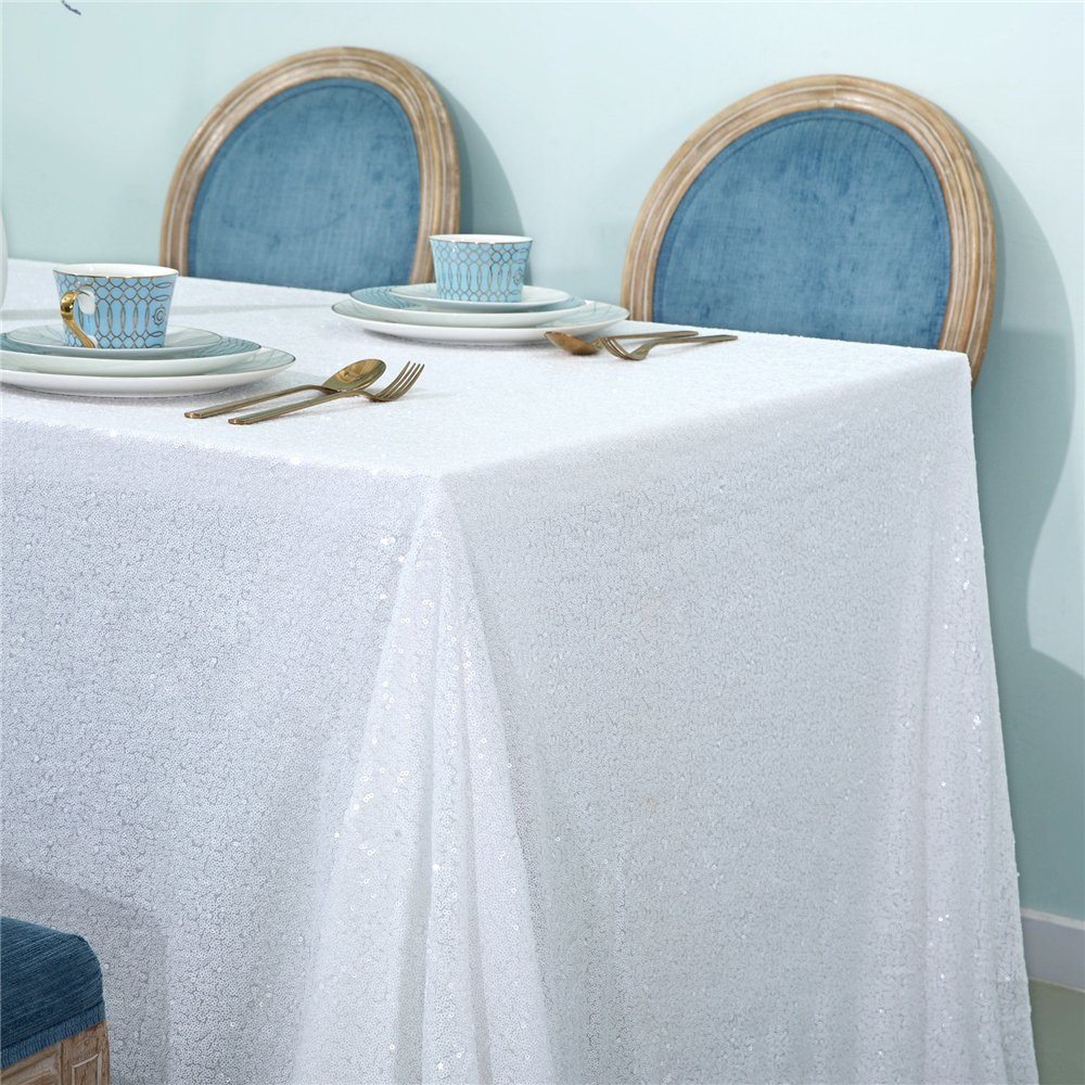 Zdada White Sequin Tablecloth New Years Sequin Tablecloth-55 x 108