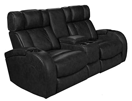 Amazing Row One RO8071 22H 121G Andromeda Power Loveseat In Black, Black Leather Gel