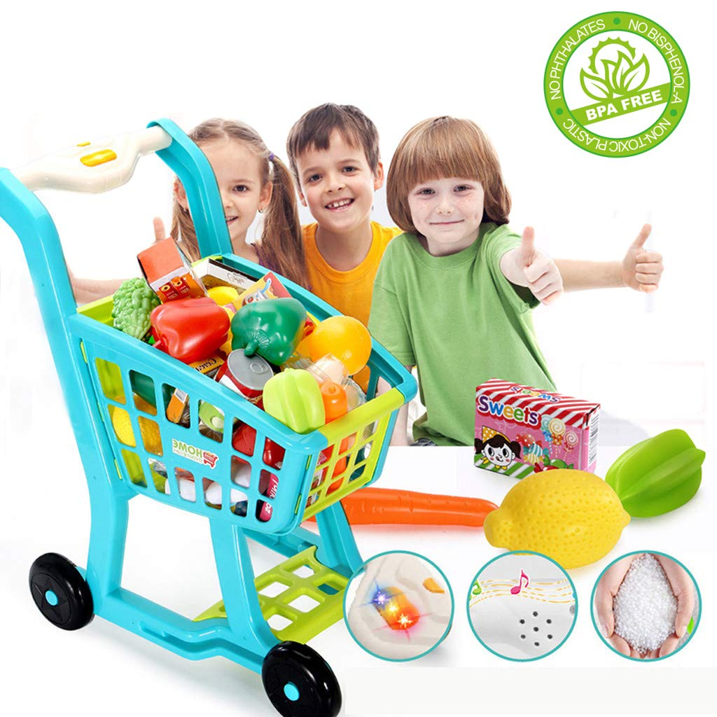 jujunshangmao Children's Shopping Cart Toy Pretend Play Toy,Mini Shopping Cart with Full Grocery Food Toy Playset for Kids , Fruits , Vegetables , Snacks (Blue) (Blue)