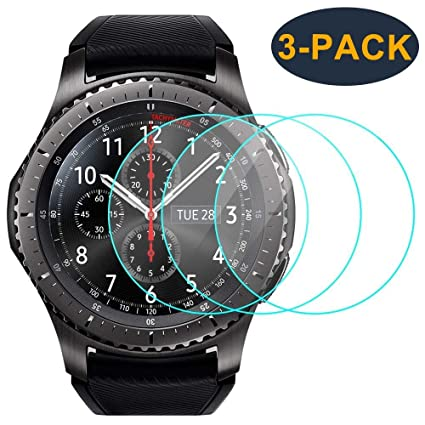 brand new 2a059 658e5 CAVN 3-Pack Compatible with Samsung Gear S3 & Galaxy Watch 46mm Screen  Protector, Waterproof Tempered Glass Cover Saver [Anti-Scratch] [No-Bubble]