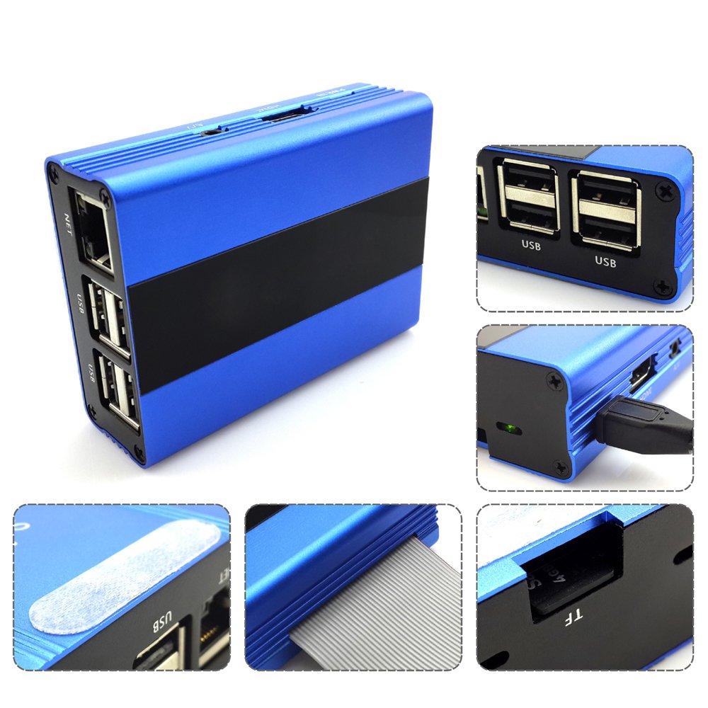 Eleduino Raspberry Pi 3 Aluminum Alloy Metal Case Blue and 5V 2.5A Power Supply Kit by EleDuino (Image #2)