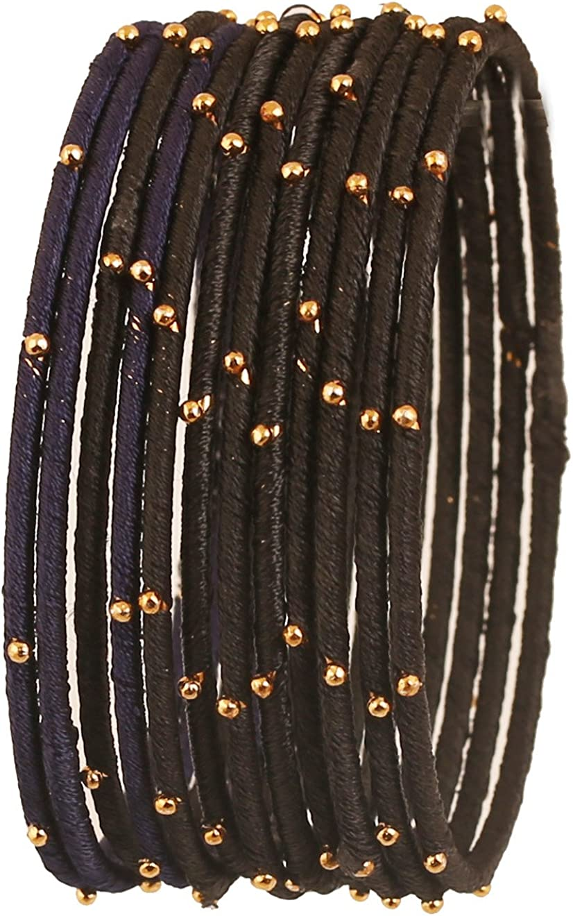 Touchstone - Juego de 12 pulseras de hilo de seda de imitación hechas a mano con cuentas doradas Negro: Amazon.es ...