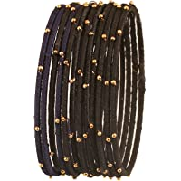 Touchstone New Silk Thread Bangle Collection Indian Bollywood Handcrafted Faux Silk Thread Exotic Look with Golden Beads…