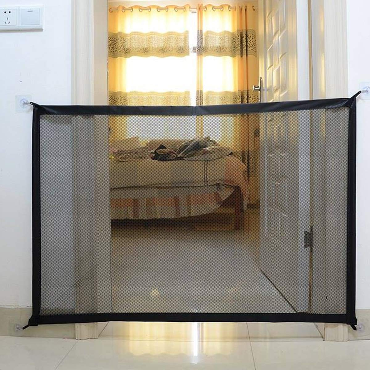 100 * 75cm POPETPOP Dog Safety Fence Separation Net Magic Gate Guard Mesh Safety Enclosure Fence Net for Pet