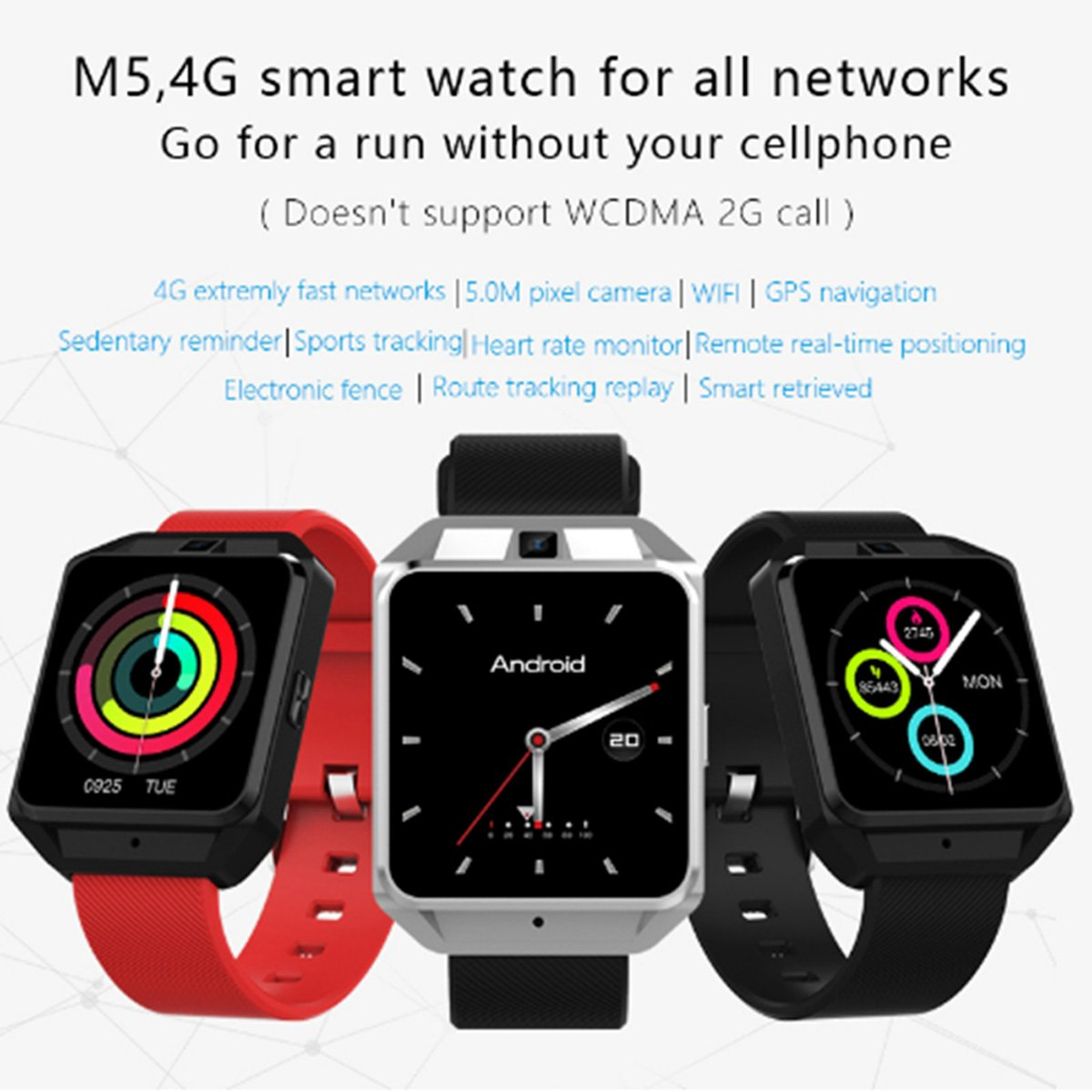 Amazon.com: OLSUS Smart Watch, Support 4G Network, Wi-Fi,5.0MP Camera, Heart Rate Monitor - Red: Electronics