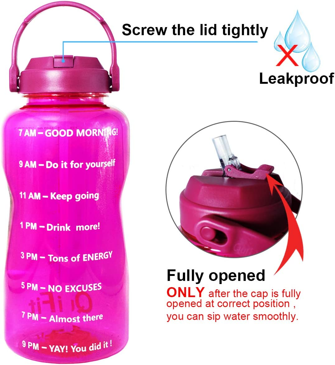 QuiFit 1 Gallon Water Bottle with Straw /& Time Marker,BPA Free 128//64 oz Large Water Jug,Leak-Proof and Durable,for Fitness and Outdoor Enthusiasts