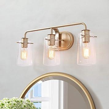 Ksana Gold Vanity Lights 3 Light Modern Bathroom Light Fixture With Seeded Glass Shade Amazon Com