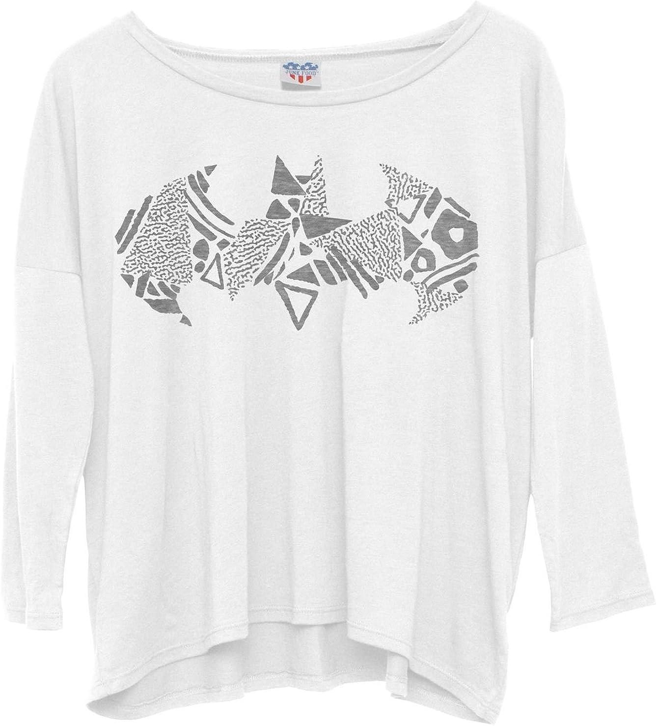 Batman - Pencil Sketch Logo Juniors Long Sleeve Dolman White