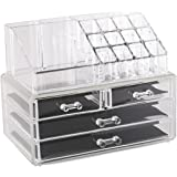 Estilo 0174 100% Pure Acrylic Cosmetic and Jewelry Organizer, Two Pieces Set Storage Display Boxes