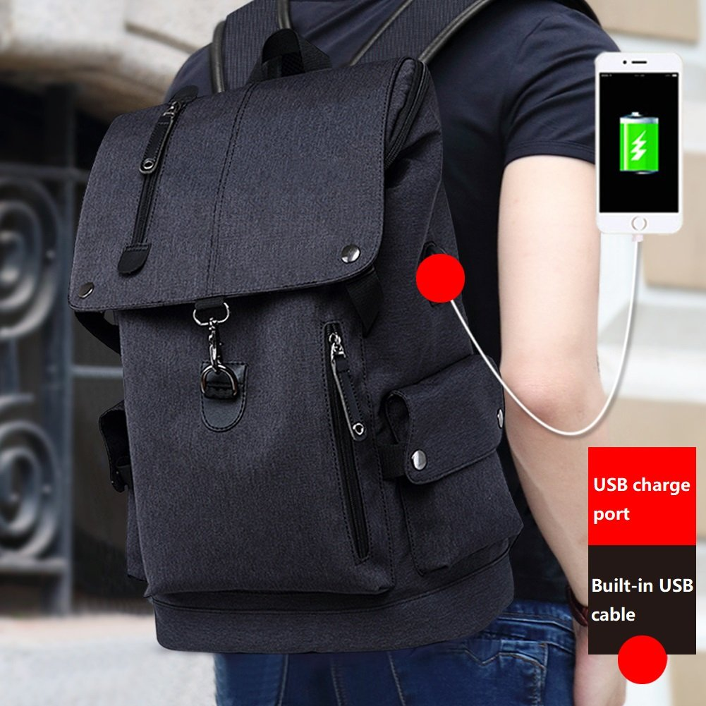 Business Laptop Backpack, Slim Anti Theft Computer Bag, Water-resistent College School Backpack, Eco-friendly Travel Shoulder Bag / USB Charging Port Fits UNDER 15.6 Inch Laptop & Notebook (Black) by damo (Image #2)