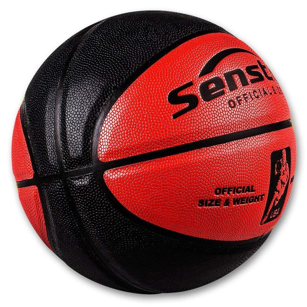 Senston Official Basketball 29.5 Outdoor Indoor Mens Basketballs Red Black with Pump Needle Net