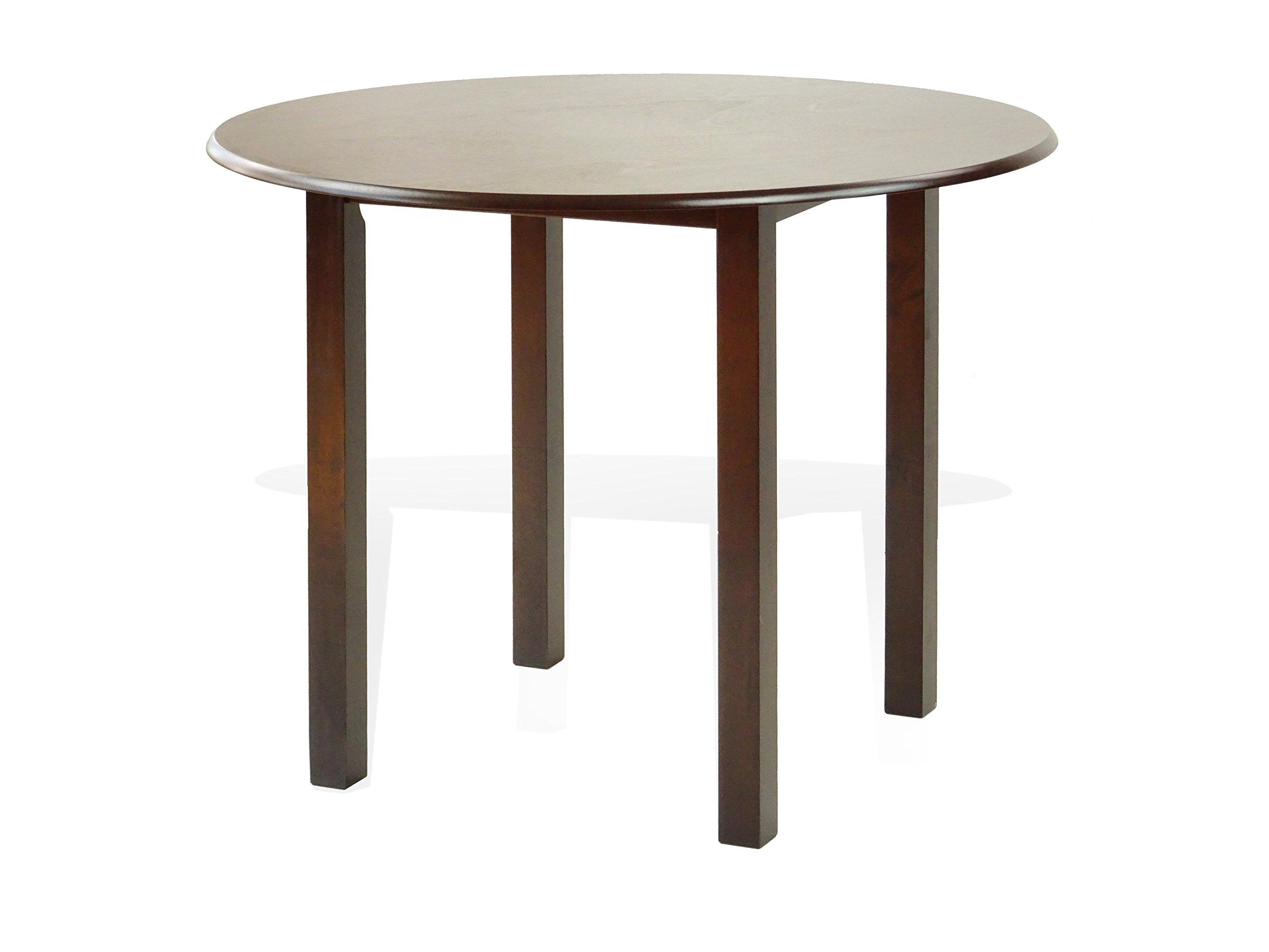 Rattan Wicker Furniture Dining Kitchen Round Contemporary Design Wooden Table Dark Walnut Finish