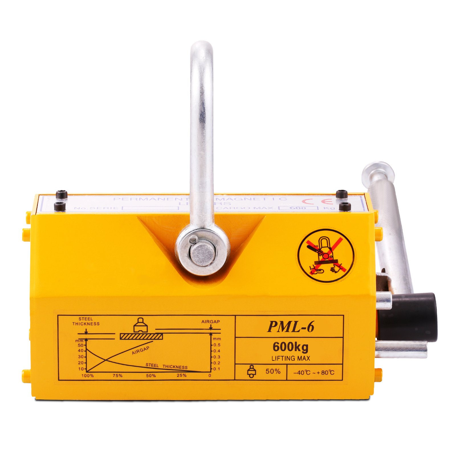 Popsport Steel Magnetic Lifter 1320LBS Metal Lifting Magnet N45 Magnet Material Crane Hoist Lifting Magnet with Safety Factor of 3.5 for Lifting Steel Various Magnetic Materials (1320LBS)