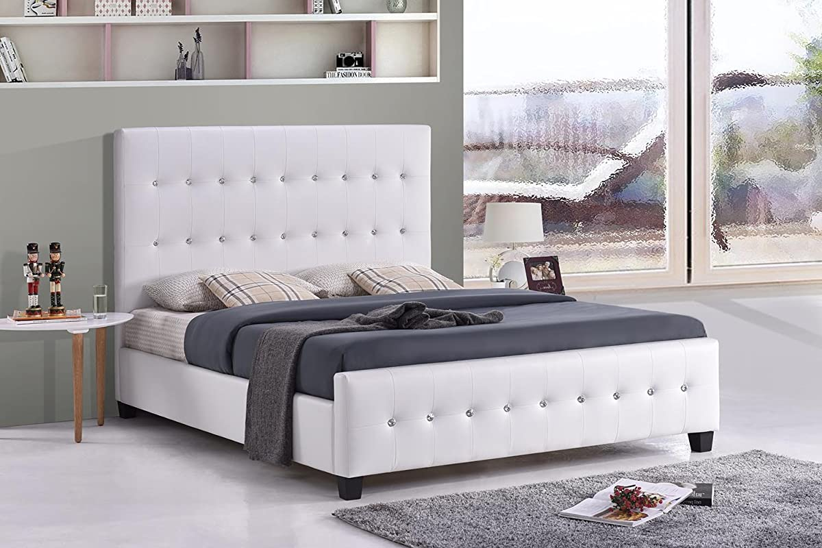 White Tufted Jewel Studded Faux Leather Upholstered Bed (Queen)