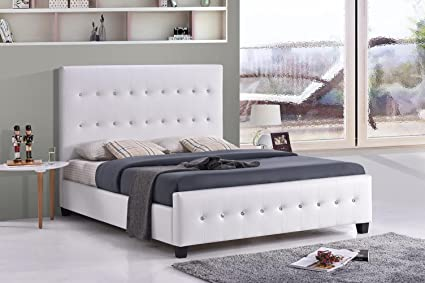 Amazon.com: White Tufted Jewel Studded Faux Leather Upholstered Bed ...