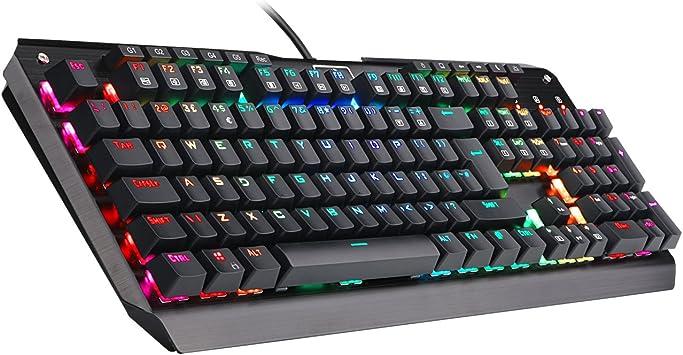 Redragon K555 Mecánico Teclado Gaming con Reposamuñecas Y Azules Conmutadores, 104 Teclas INDRAH RGB LED Retroiluminado Iluminado PC Gaming Teclado ...