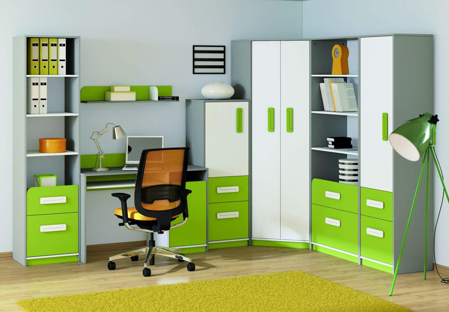 Kinderzimmer Set L Renton, 7-teilig, Farbe: Platingrau/Weiß/Grün