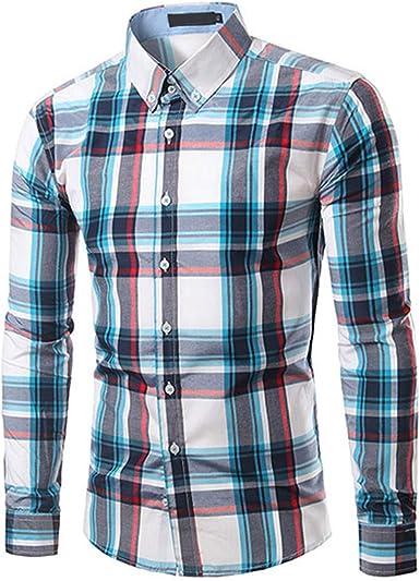 Camisa a Cuadros de Manga Larga para Hombre - Azul - XXX ...