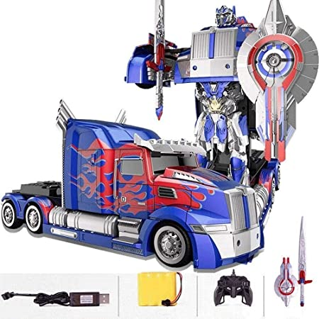 La deformación de dibujos animados RC camión de juguete Un botón deformados coche teledirigido de alta velocidad de deriva Transformación Robot truco RC Car mejor año nuevo juguete de Navidad for vehí: