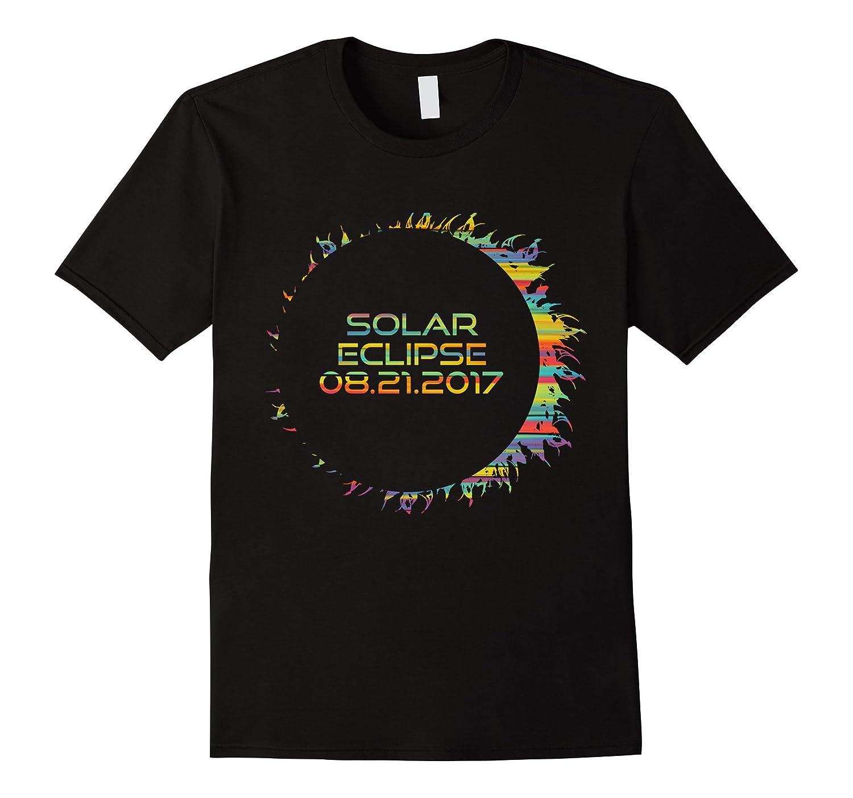 Cool Solar Eclipse Rainbow Stripe Sun Flame T-Shirt-BN