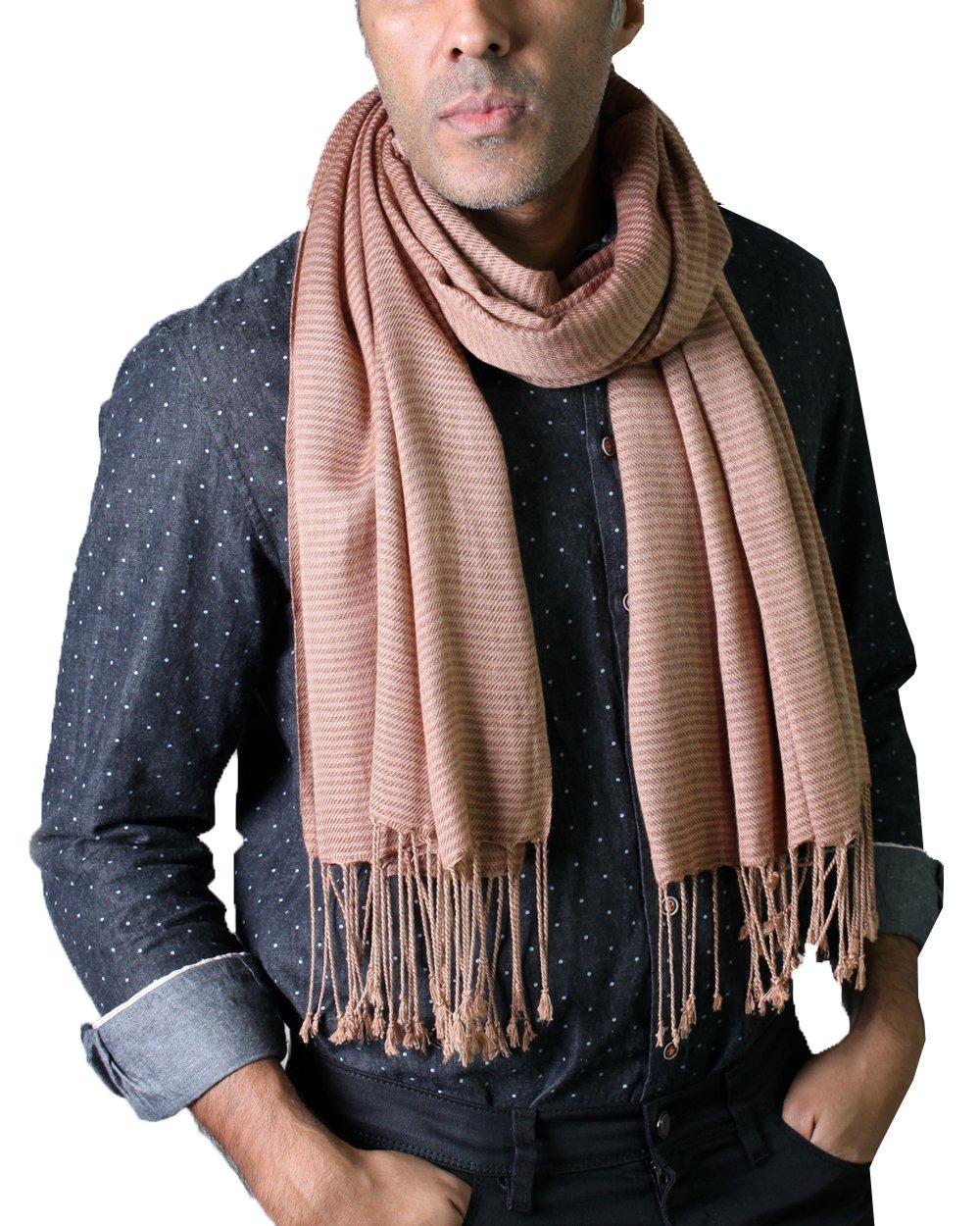 Anika Dali Men's Classic City Stripe Scarf with Tassels, Silky Soft (Brown)