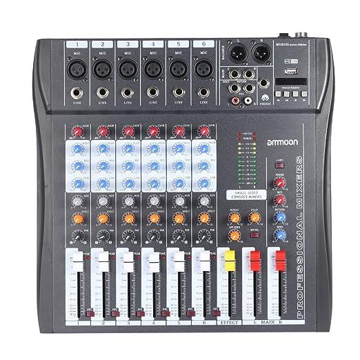 8 opinioni per Mixer Ammoon 60S-USB a 6 Canali, mixer audio, 3 Band EQ XLR USB ingresso 48 V