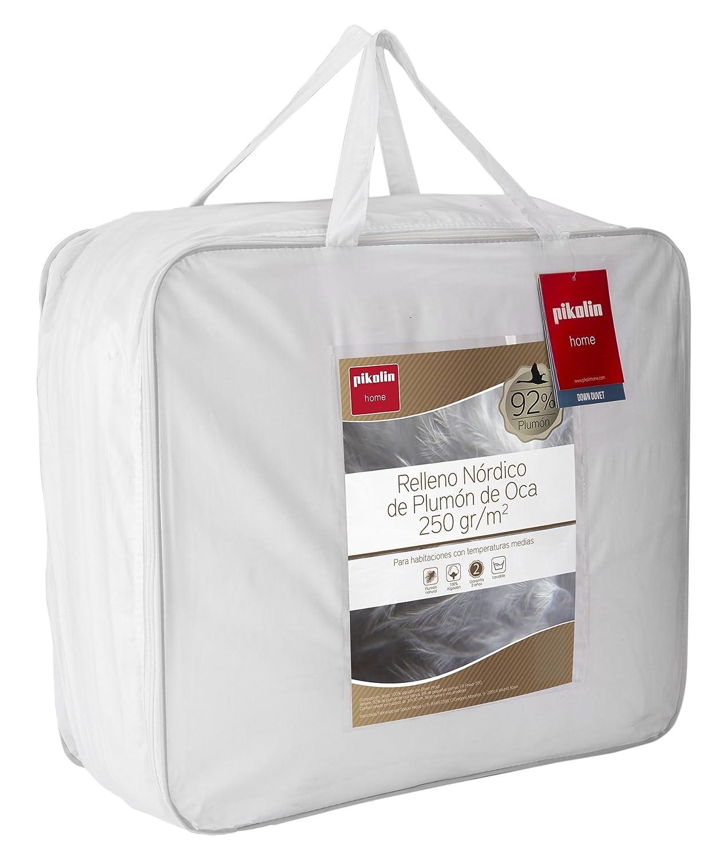 Pikolin Home - Relleno nórdico, edredón natural de plumón de oca 92%, funda 100% algodón de percal, 250gr/m², 155 x 220 cm, cama 100 (Todas las medidas): ...