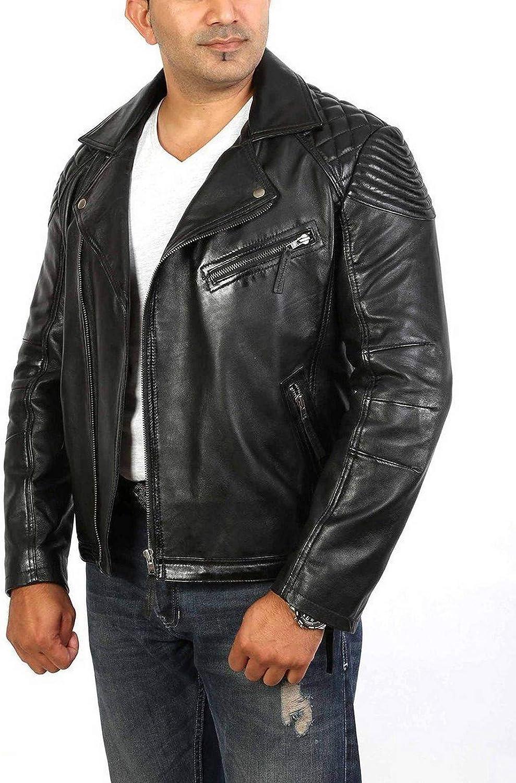 Woojo Mens Leather Biker Jacket WJ047