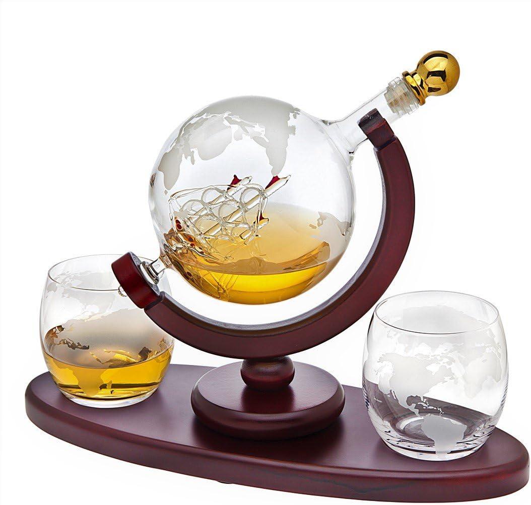 Whiskey Decanter Globe Set with 2 Etched Globe Whisky Glasses - for Liquor, Scotch, Bourbon, Vodka - 850ml