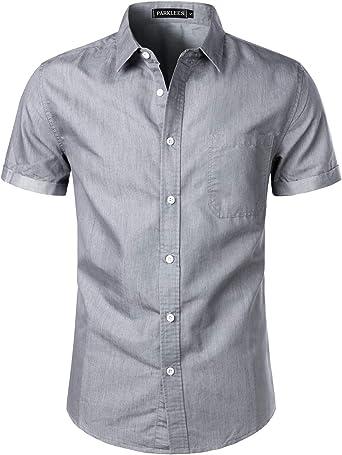 PARKLEES Camisa vaquera de manga corta para hombre, para el verano, para el tiempo libre